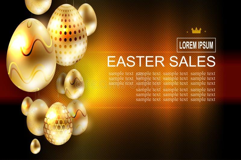Wielkanocny ciemny textural skład z wiele złotymi jajkami na breloczkach, ilustracja wektor