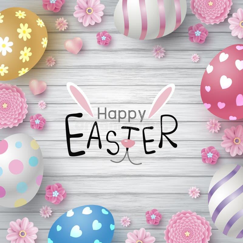 Wielkanocny dnia projekt jajka i kwiaty na białym drewnianym tekstury tle royalty ilustracja