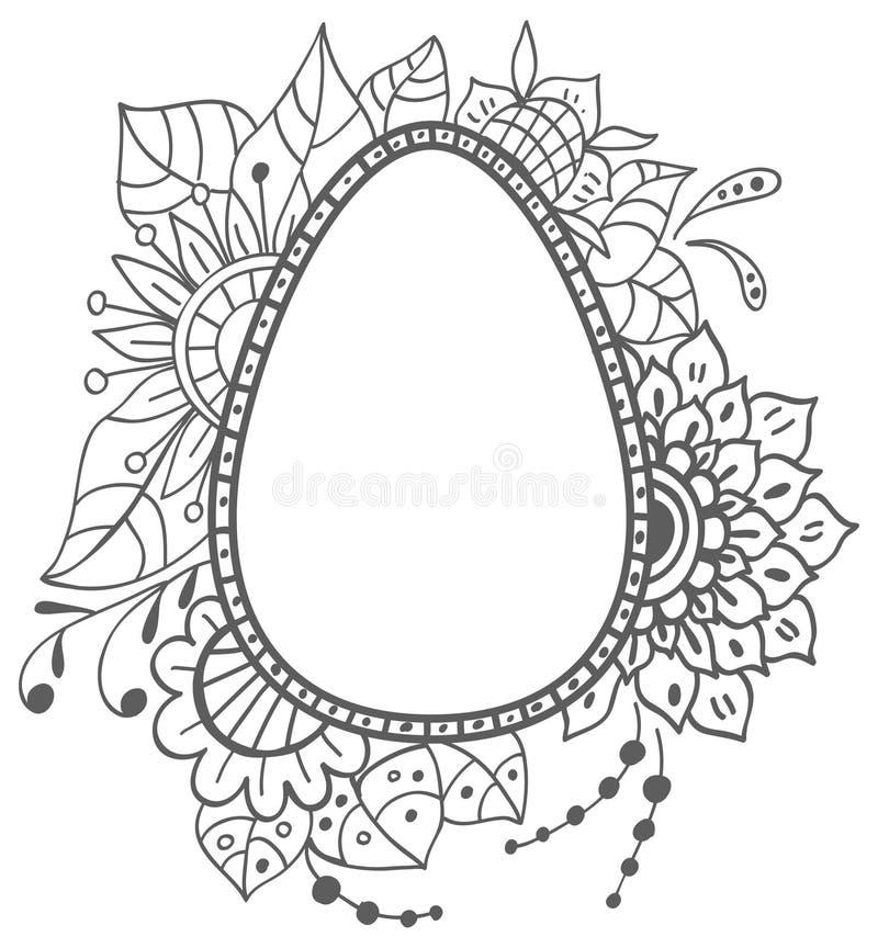 Wielkanocny doodle jajko z kwiecistym ornamentem ilustracja wektor