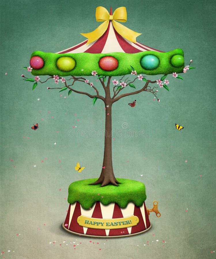 Wielkanocny drzewny carousel ilustracji