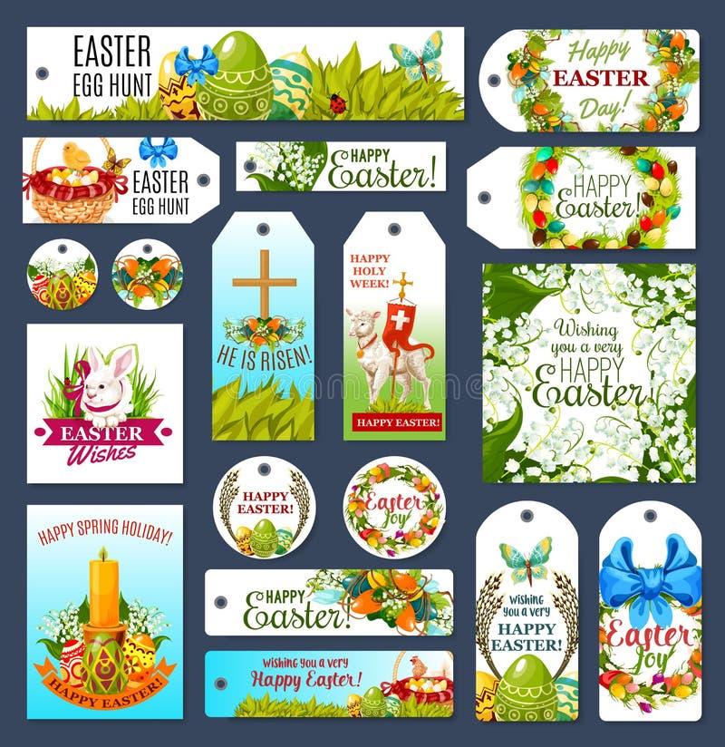 Wielkanocny etykietka set z Jajecznym polowanie królikiem, kwiatami i royalty ilustracja