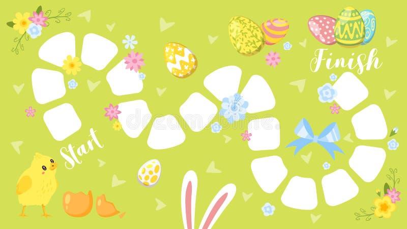 Wielkanocny gra planszowa szablon ilustracja wektor