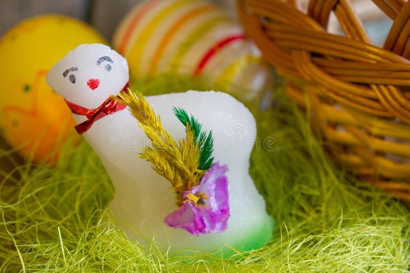 Wielkanocny jagnięcy cukier i jajka na zielonej trawy abstrakcie fotografia royalty free