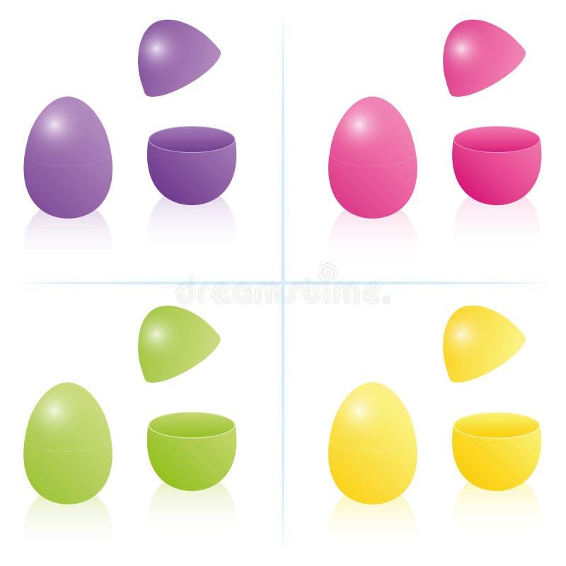 Wielkanocny Jajeczny pudełko Otwarty Zamknięty Fillable ilustracji