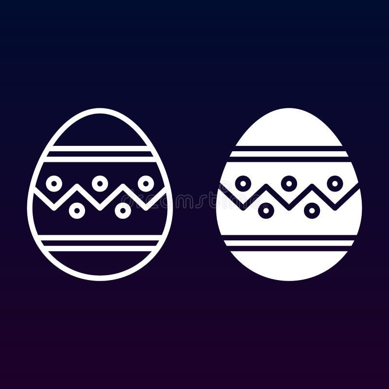 Wielkanocny jajko kreskowy, stała ikona, kontur i piktogram odizolowywający na bielu, wypełniający wektoru znaka, liniowego i peł ilustracji