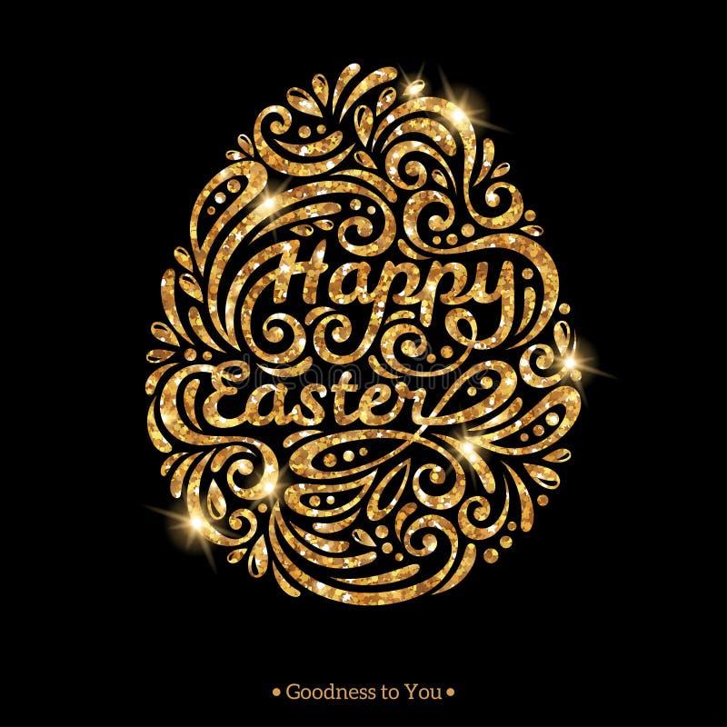 Wielkanocny jajko w doodle stylu, złocisty jaśnienie kształt royalty ilustracja