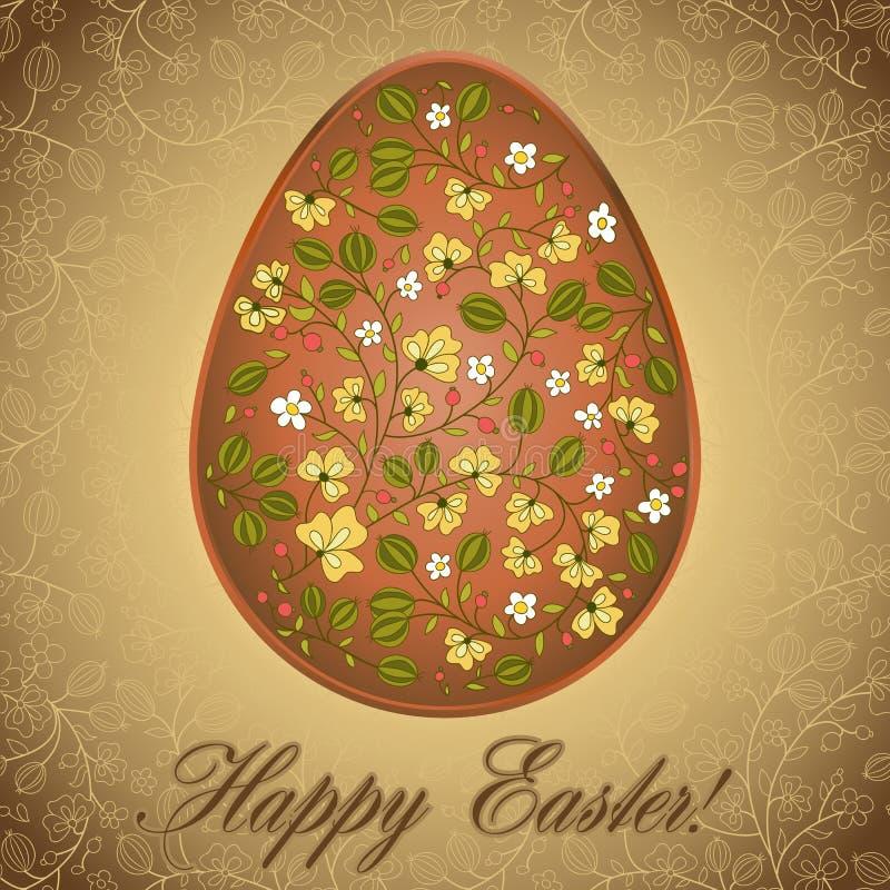 Wielkanocny jajko z agrestem, złocisty brown kartka z pozdrowieniami ilustracja wektor