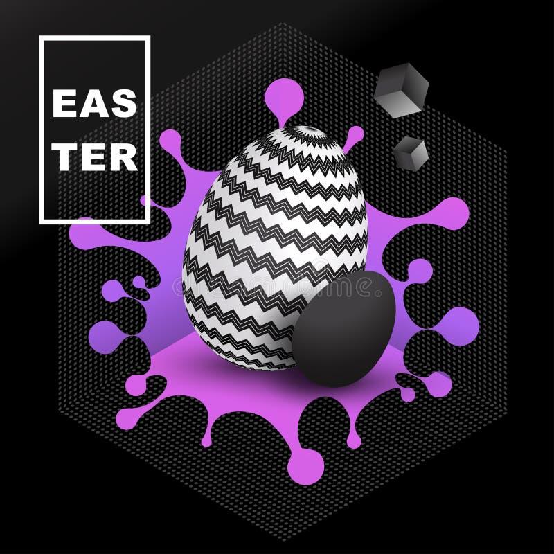 Wielkanocny jajko z geometrycznym ornamentem na tle jaskrawy kleks royalty ilustracja