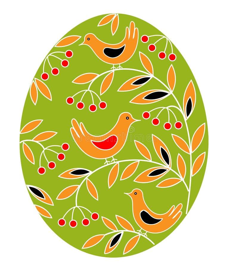 Wielkanocny jajko z maluj?cym wzorem Ptaki na gałąź z jagodami i liśćmi Symbol wielkanoc Antyczna tradycja ludzie ilustracja wektor