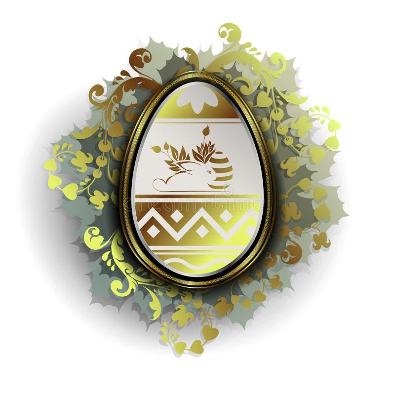 Wielkanocny jajko z sylwetką królik i wianek liście ilustracja wektor