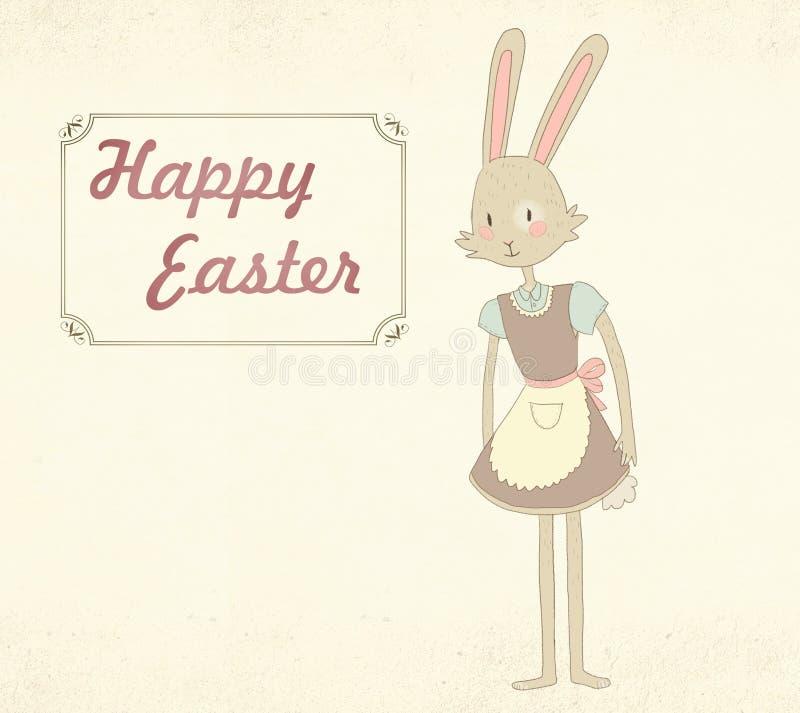 Wielkanocny kartka z pozdrowieniami z śliczną królik ilustracją obrazy royalty free