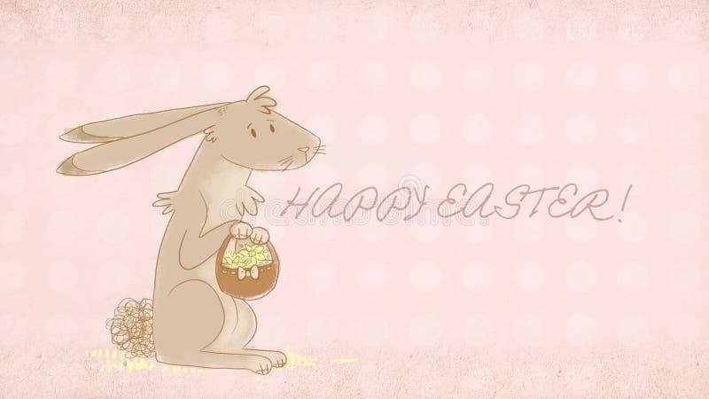 Wielkanocny kartka z pozdrowieniami z śliczną królik ilustracją fotografia stock
