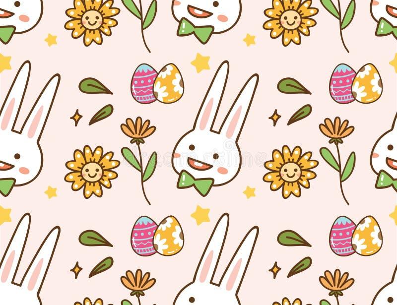 Wielkanocny kawaii tło z królikiem, jajkiem i kwiatem, ilustracja wektor