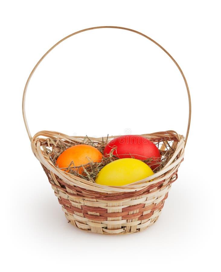 Wielkanocny kosz na bielu zdjęcia royalty free
