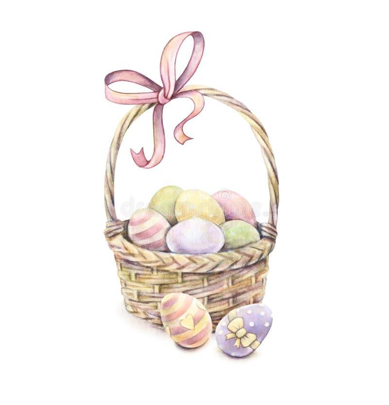 Wielkanocny kosz odizolowywający na białym tle koloru Easter jajka banki target2394_1_ kwiatonośnego rzecznego drzew akwareli cew ilustracji