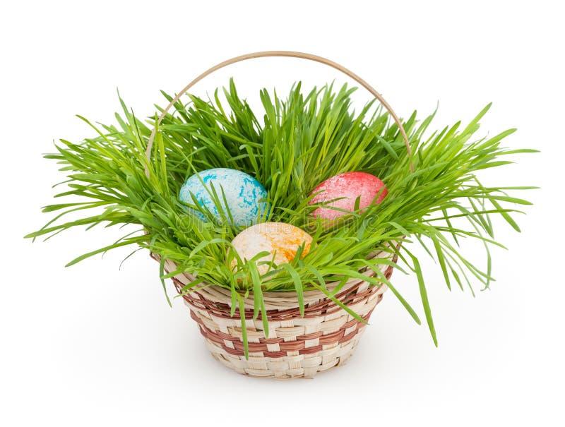 Wielkanocny kosz odizolowywający na bielu zdjęcia stock
