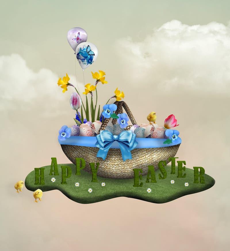 Wielkanocny kosz z jajkami, pansies, kurczątkami, tekstem i kwiatami, ilustracji