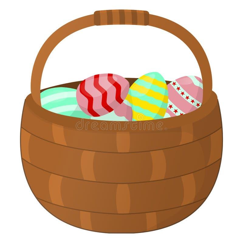 Wielkanocny kosz z jajko ikoną Szczęśliwa wielkanoc na białym tle Kreskówka styl również zwrócić corel ilustracji wektora royalty ilustracja