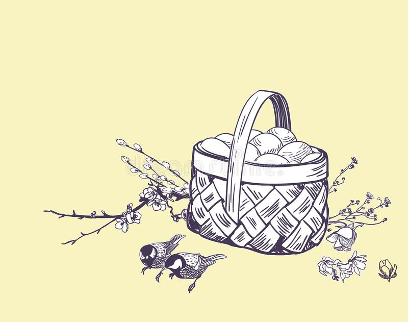 Wielkanocny koszykowy jajko wektor graweruje kartę odizolowywającą ilustracji