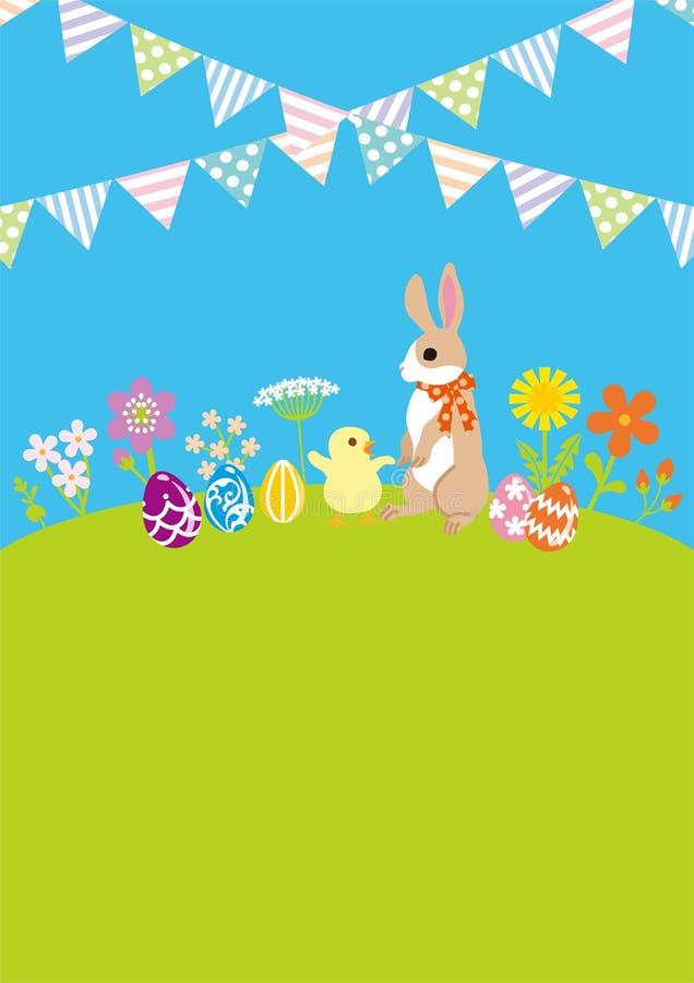 Wielkanocny królik i kurczątko w wiosny naturze z chorągiewki dekoracją, kopia układu astronautyczny projekt ilustracja wektor