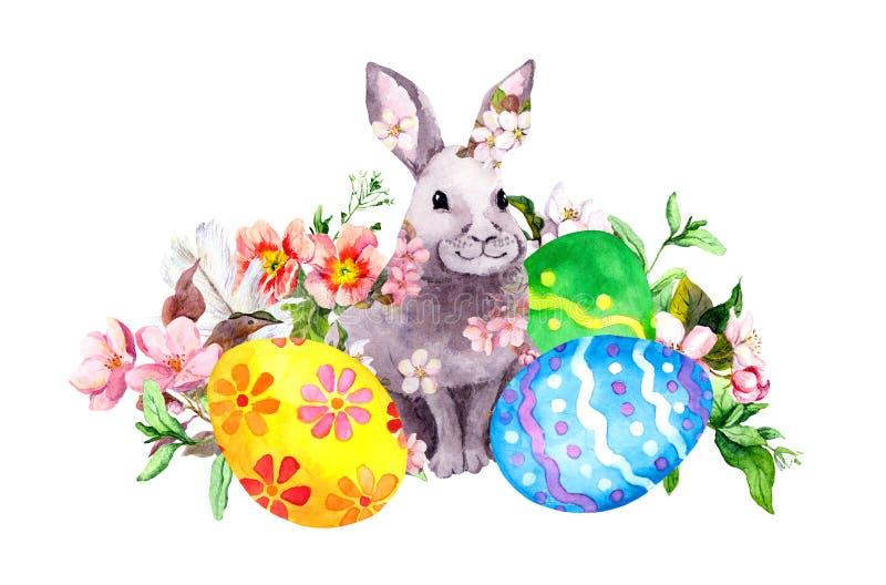 Wielkanocny królik w wiośnie kwitnie z barwionymi jajkami, trawa, menchia kwiaty akwarela ilustracji