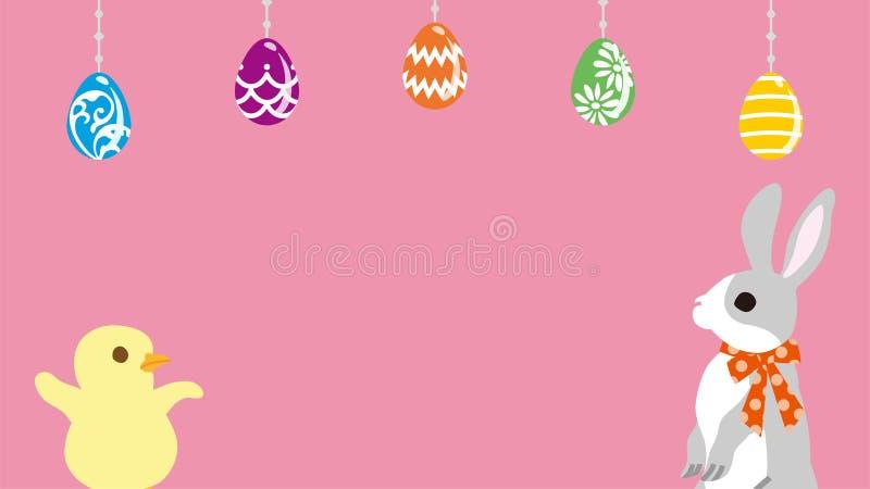 Wielkanocny królik z kurczątkiem w Easter jajek ornamentu tle - menchia, kopia układu astronautyczny projekt royalty ilustracja