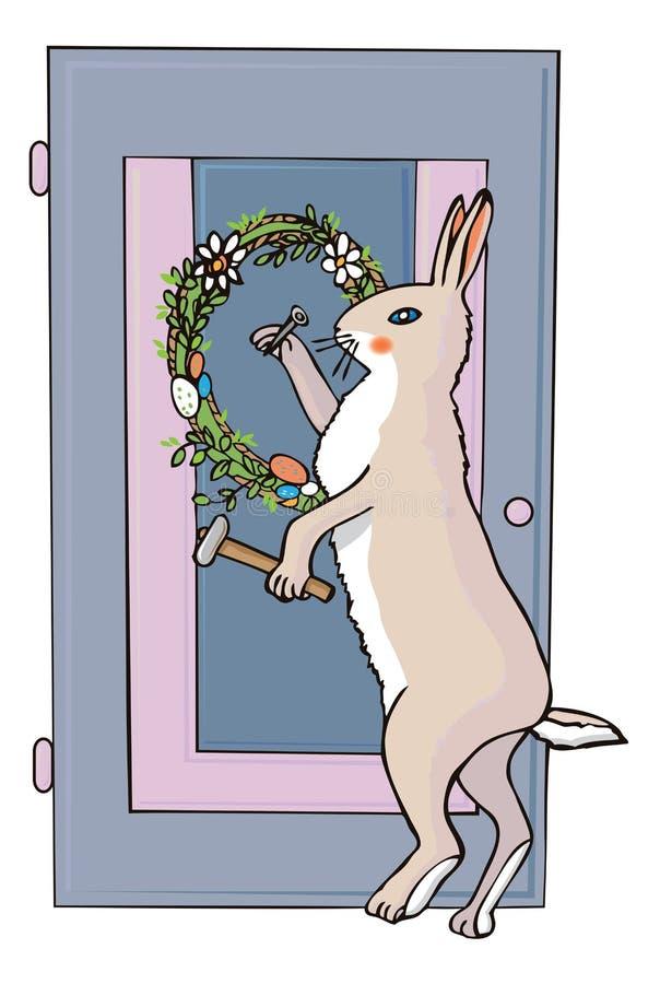Wielkanocny królik i świąteczny wianek royalty ilustracja