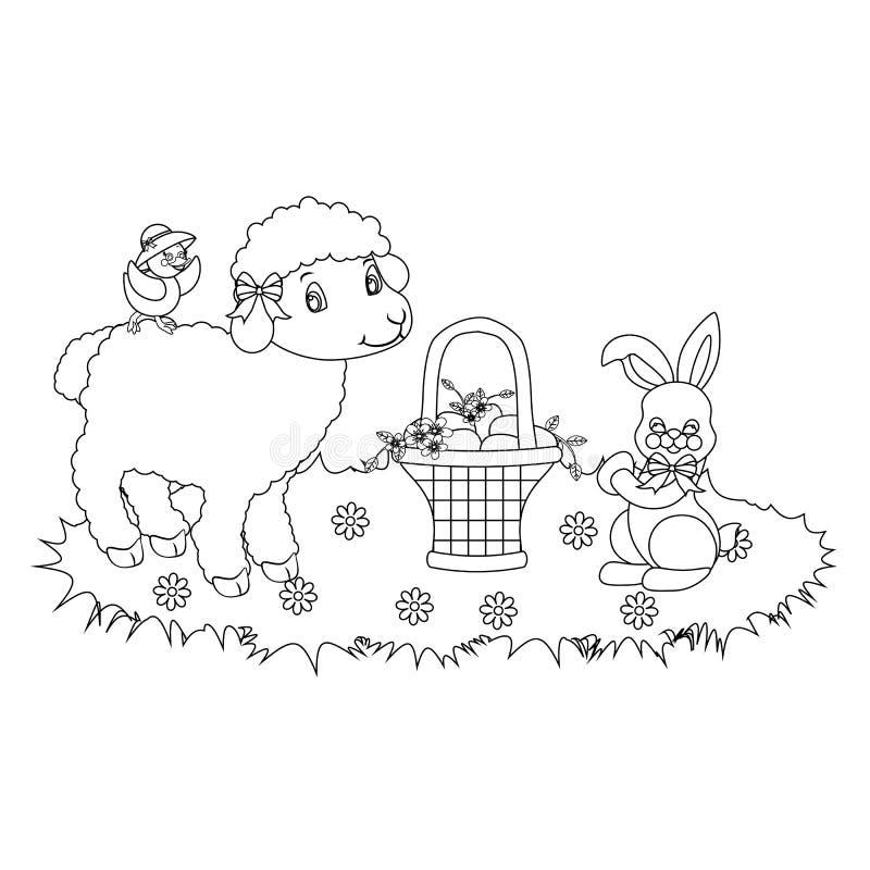 Wielkanocny królik i jagnięcy kontur ilustracja wektor
