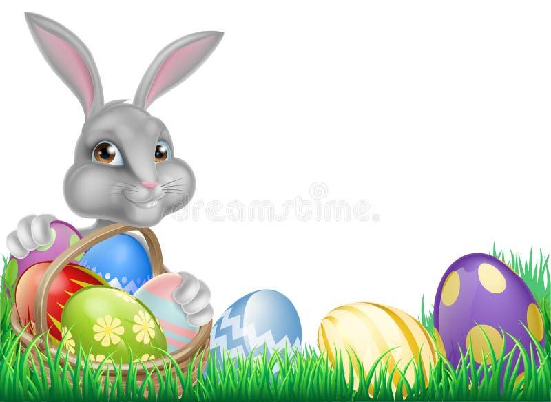 Wielkanocny królik i jajka koszykowi ilustracja wektor