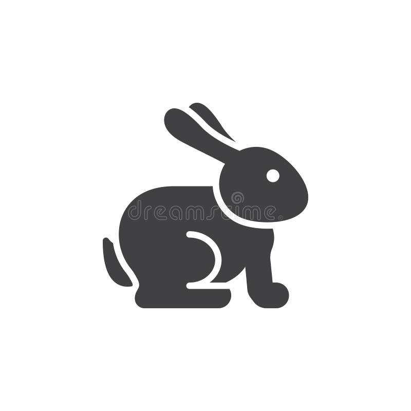 Wielkanocny królik ikony wektor, wypełniający mieszkanie znak, stały piktogram odizolowywający na bielu ilustracja wektor