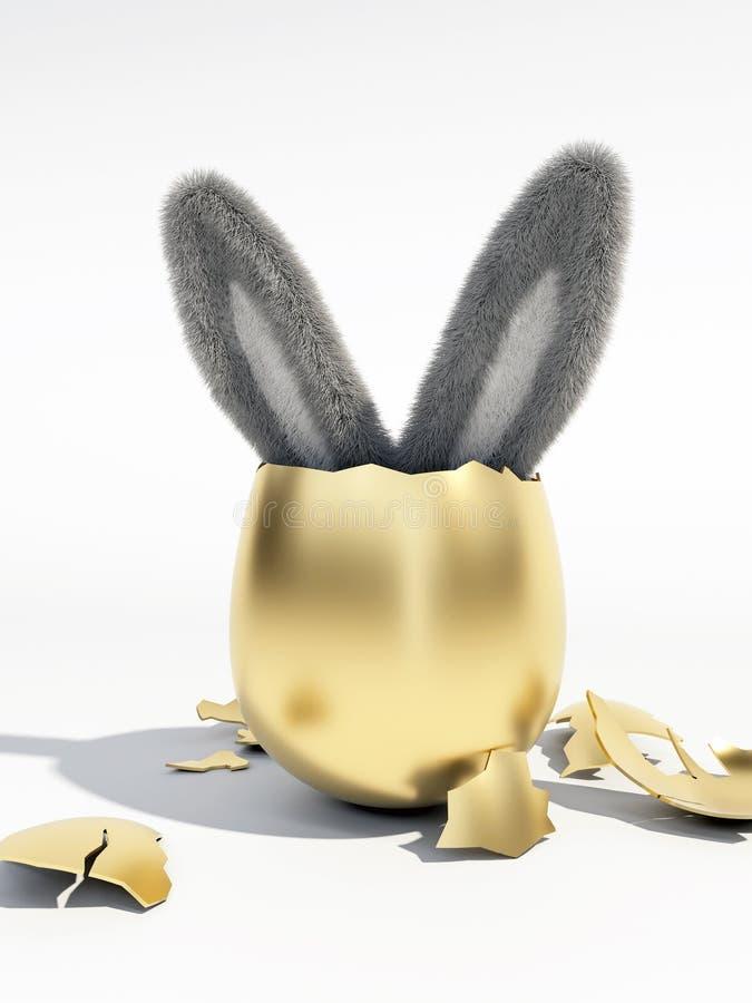 Wielkanocny królik w łamanym Złotym jajku zdjęcie stock