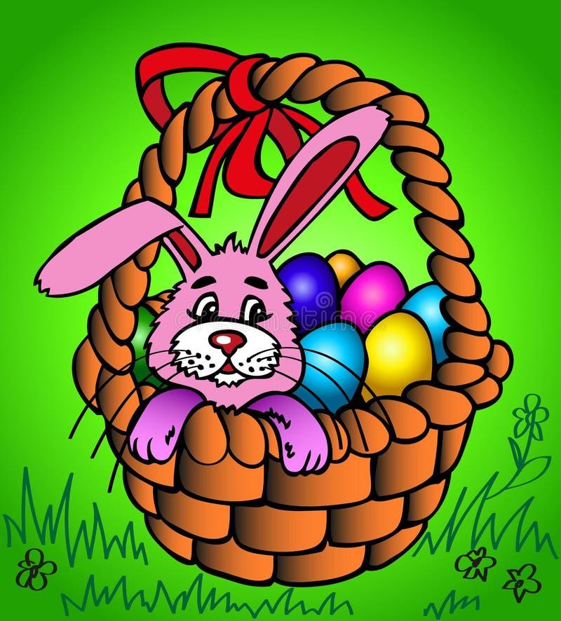 Wielkanocny królik w koszu royalty ilustracja