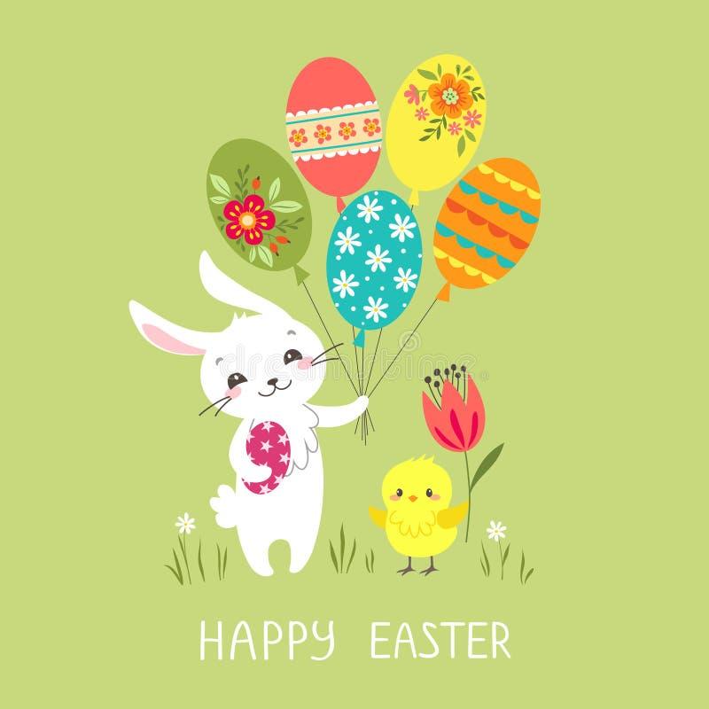Wielkanocny królik z balonami royalty ilustracja