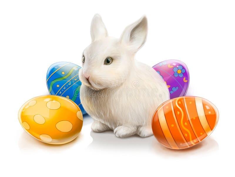 Wielkanocny królik z barwionymi jajkami ilustracji