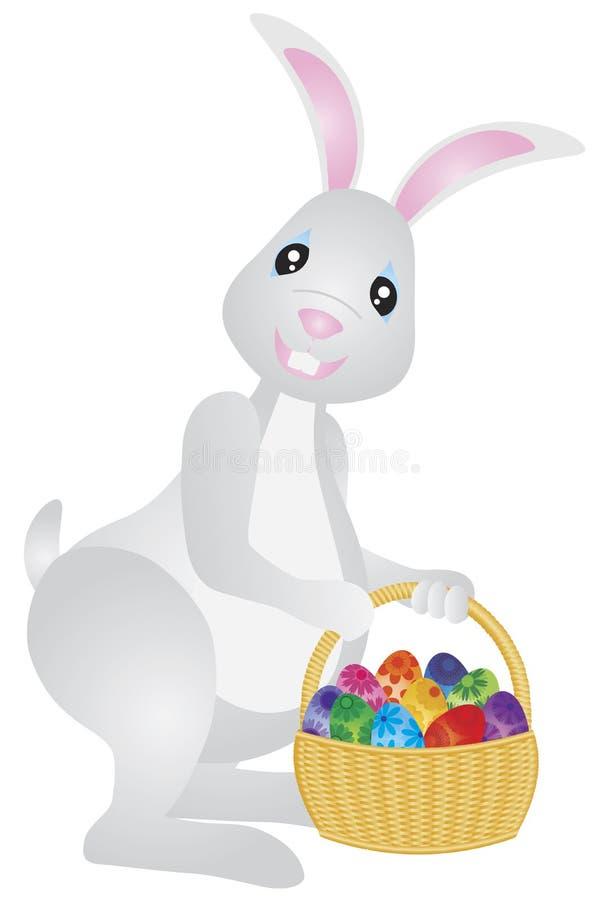 Wielkanocny królik z koszem jajka Ilustracyjni royalty ilustracja