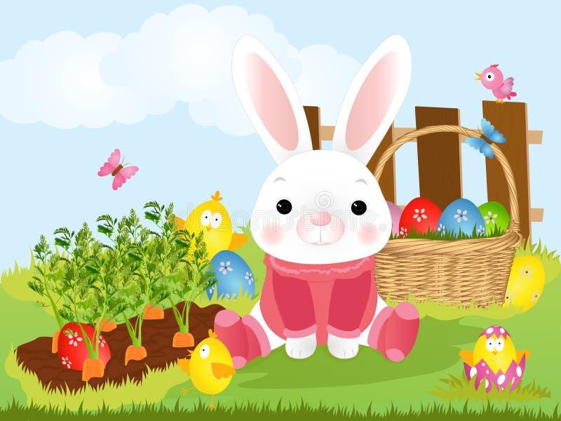 Wielkanocny królik z Wielkanocny koszykowy pełnym dekorujący Wielkanocni jajka w trawie również zwrócić corel ilustracji wektora royalty ilustracja