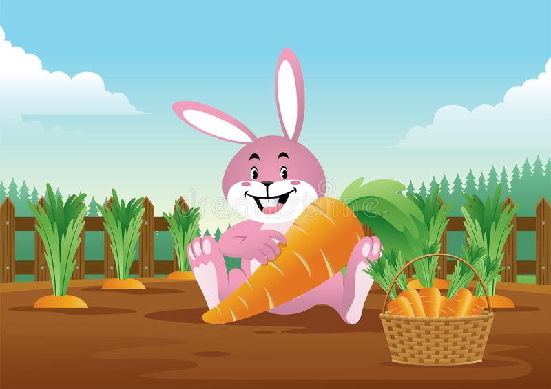 Wielkanocny królik z koszykowy pełnym marchewki ilustracji