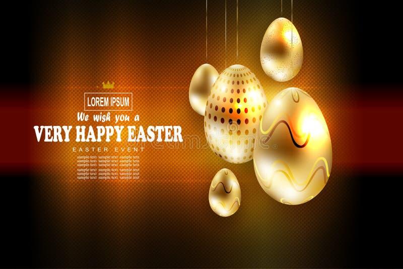 Wielkanocny modny textural skład z udziałami złoci jajka na breloczkach, ilustracji
