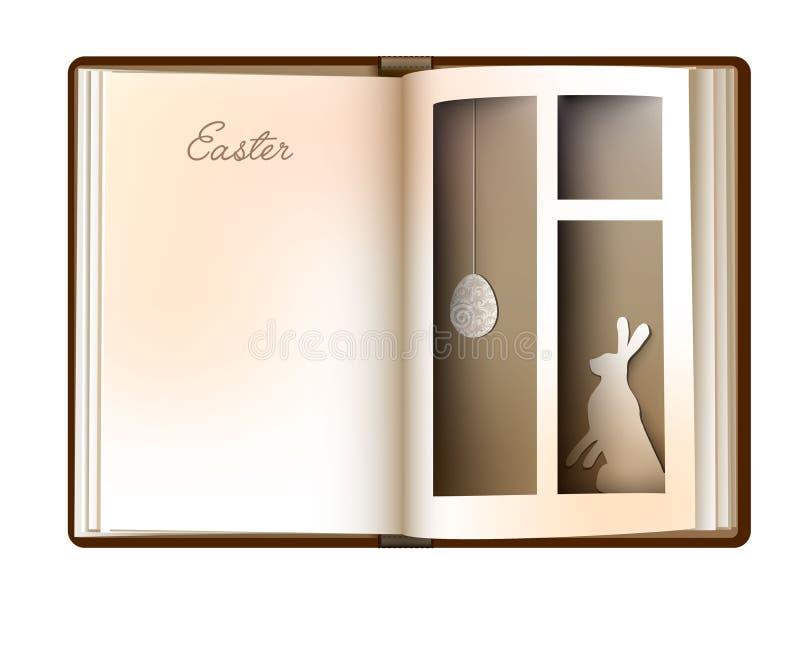 Wielkanocny opowieści pojęcie, rocznik strony puści książkowi spojrzenia jak okno z Easter jajkiem i królik, Easter karciany proj ilustracji