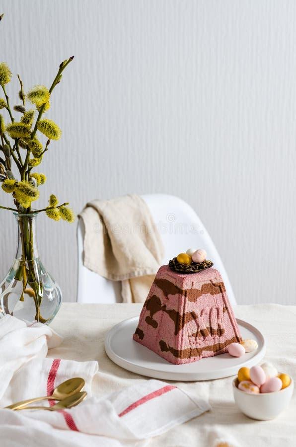Wielkanocny Ortodox curd tort, paskha Wielkanocny jedzenie, s?uzy? st fotografia stock