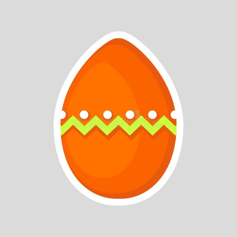 Wielkanocny pomarańczowy jajko odizolowywający na szarym tle z barwionym kontrastowanie ornamentem zygzag punkty i linia również  ilustracja wektor