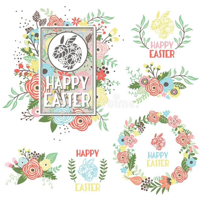 Wielkanocny powitanie kolekci set ilustracji