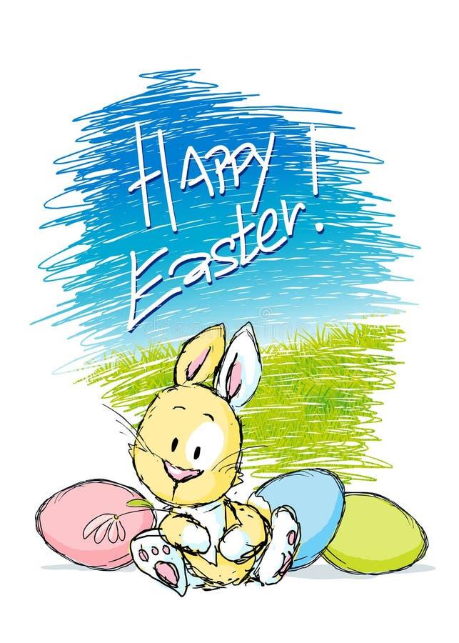 Wielkanocny projekt z ślicznym królikiem, kolorowym jajkiem i naturą, - wektor ilustracja wektor