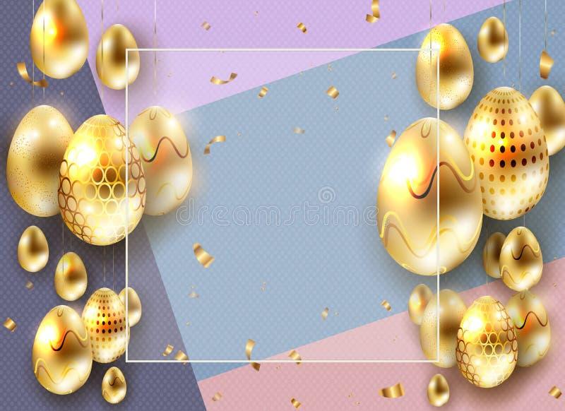 Wielkanocny purpurowy skład z złotymi jajkami na breloczkach i tasiemkowych świstkach, ilustracji