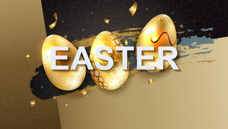 Wielkanocny skład z sylwetką trzy jajka złoty genialny cień i tasiemkowi świstki, ilustracja wektor