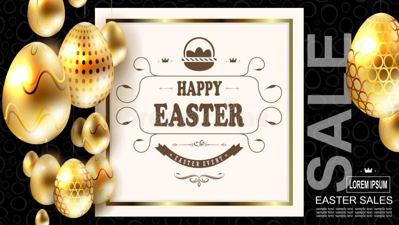 Wielkanocny skład z złotymi błyszczącymi jajkami na breloczkach i obciosuje ramę z tekstem, ilustracji