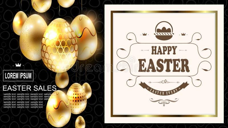 Wielkanocny skład z złotymi jajkami na breloczkach i obciosuje ramę z tekstem i koszem, royalty ilustracja