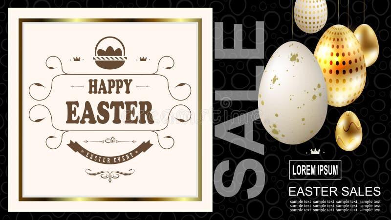 Wielkanocny skład z złotymi jajkami na breloczkach i obciosuje ramę z tekstem, ilustracji