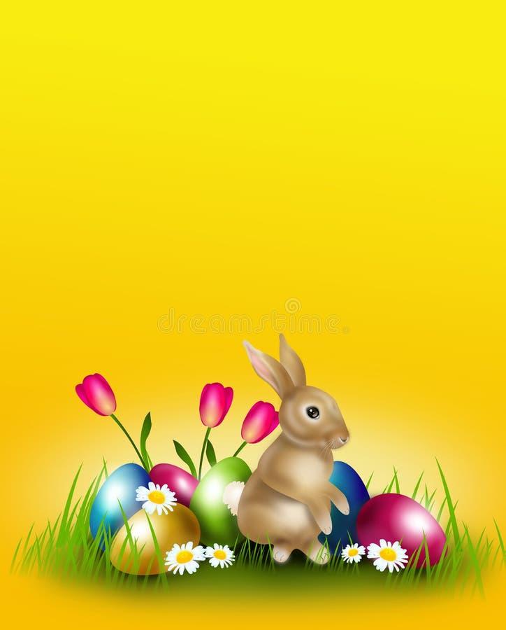 Wielkanocny tło dekorował z Easter królikiem i jajkami royalty ilustracja