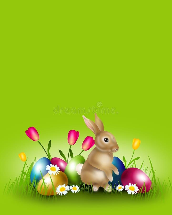 Wielkanocny tło dekorował z Easter królikiem i jajkami ilustracji
